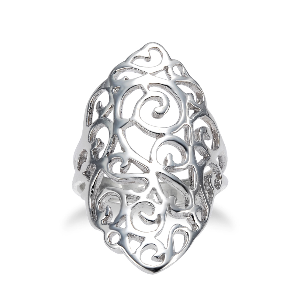 925 Sterling Silver 30 mm Cut-Out Long Floral Filigree Polish Finished Ring - Size 9
