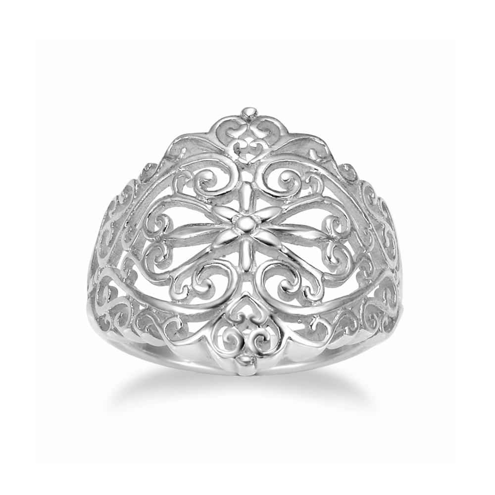 925 Sterling Silver 18 mm Floral Filigree Victorain Style Polish Finished Ring - Size 8