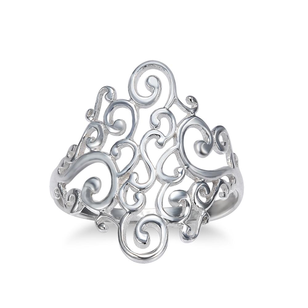 925 Sterling Silver Spiral Filigree Swirl Polish Finished Band Ring - Size 8