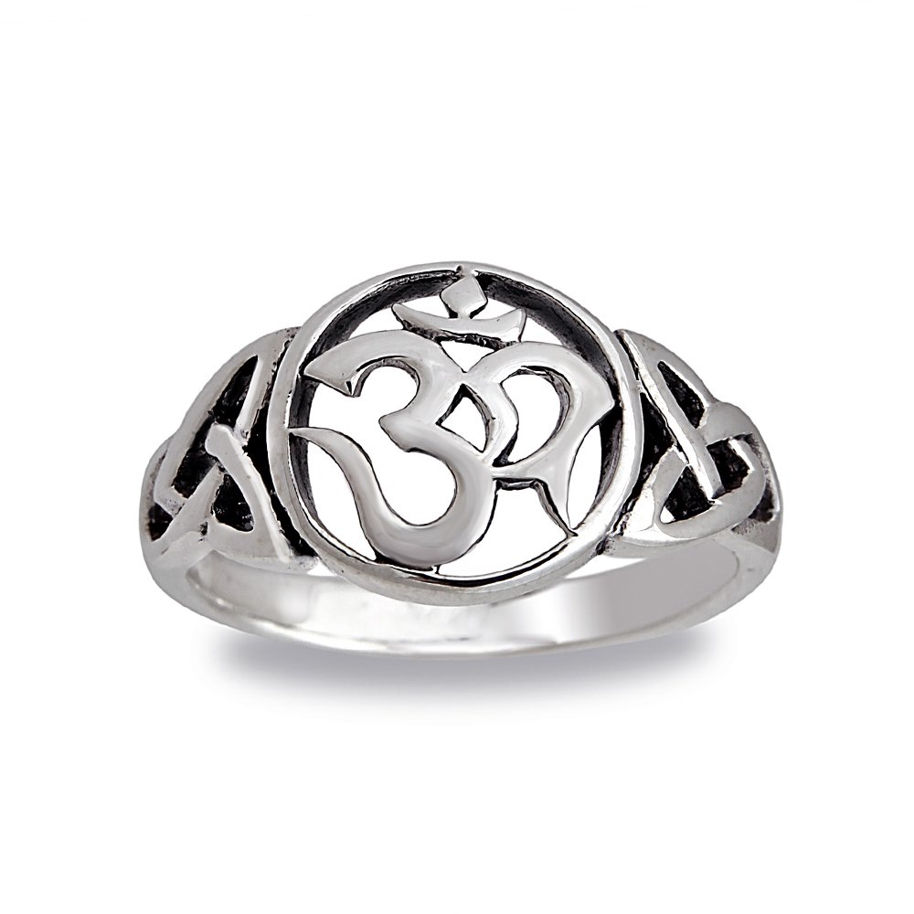 925 Sterling Silver Cut-Out Om Ohm Hindu Yoga Symbol Ring - Size 6