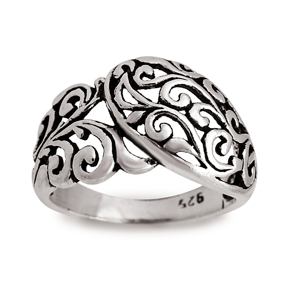 925 Sterling Silver Filigree Floral, Bali Inspired Band Ring - Size 9
