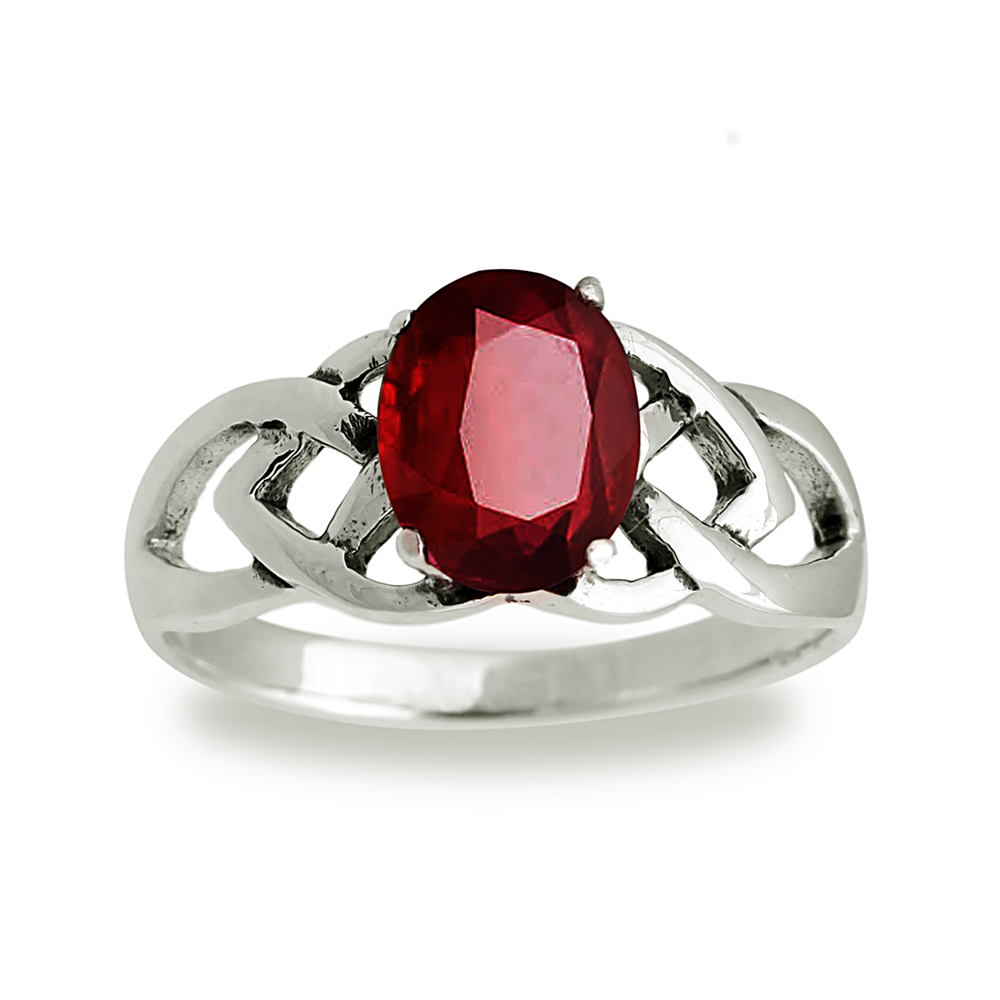925 Sterling Silver 9 mm Genuine Oval Red Garnet Celtic Band Ring - Size 6