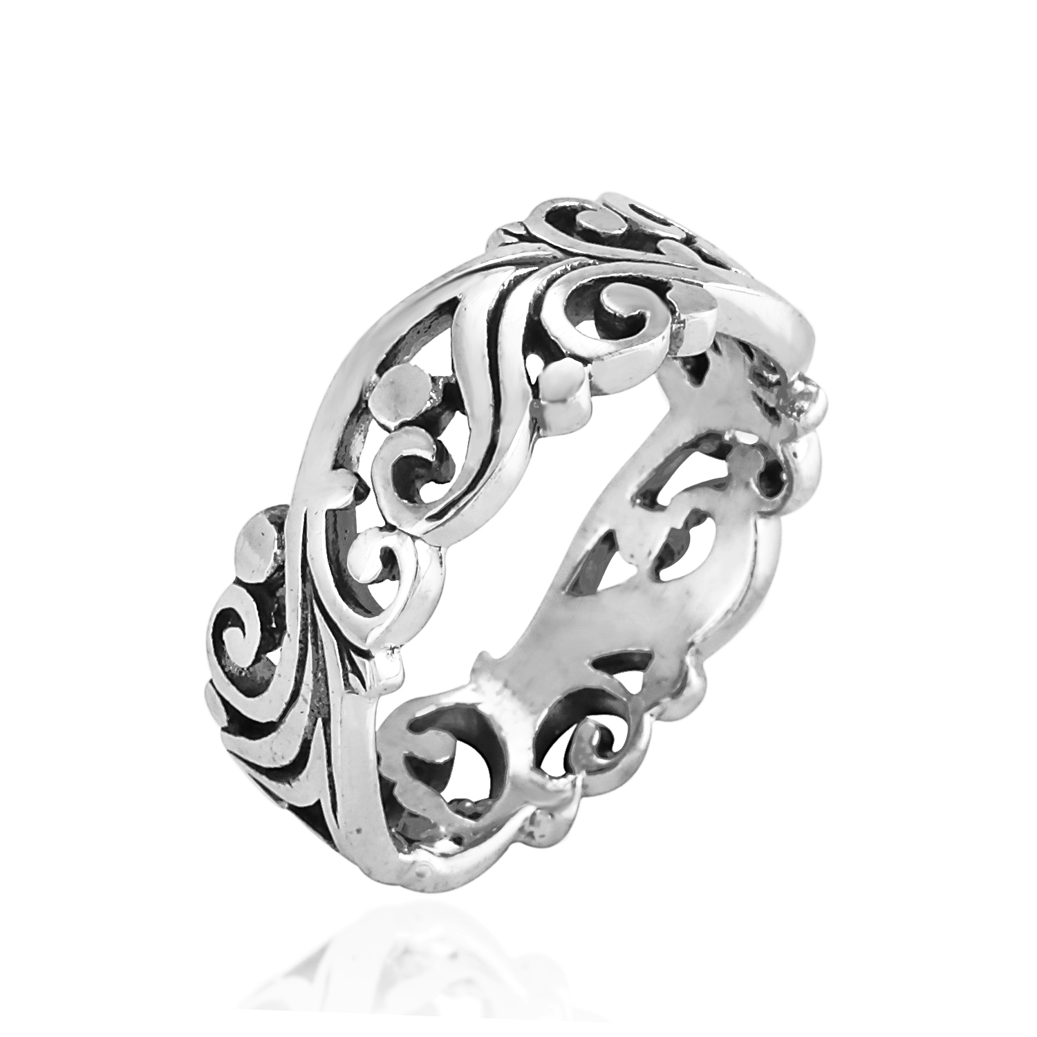 925 Sterling Silver Filigree Swirl Nature Inspired Cut-Out Band Ring - Nickel Free Size 9