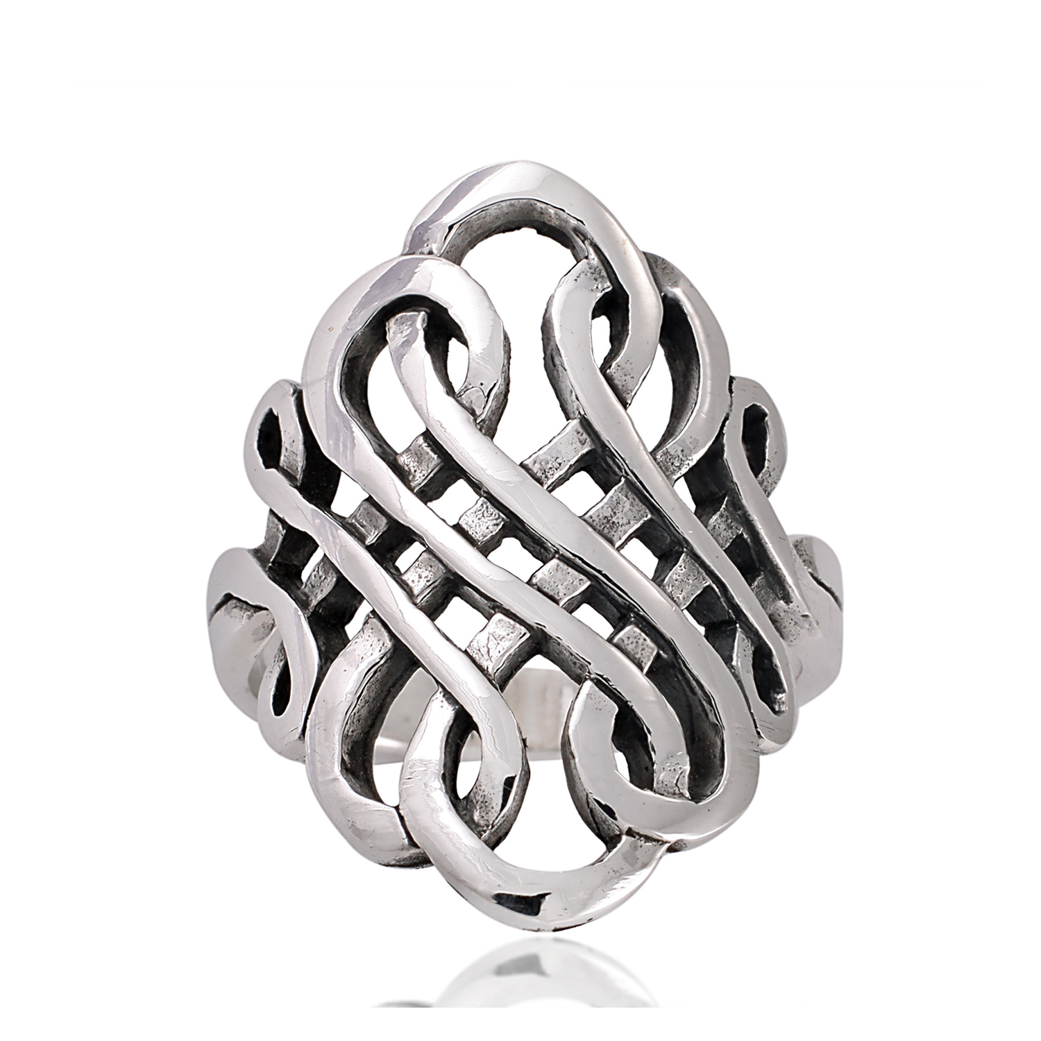925 Sterling Silver 27 mm Oxidized Detailed Swirl Celtic Wide Band Ring -Nickel Free- Size 6