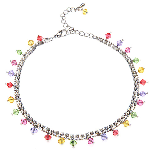 Rhodium Plated Brass Multi-Colored Faceted Swarovski Crystal and Cubic Zirconia CZ Anklet