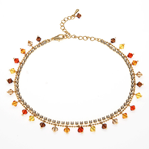 Gold-Plated Brass Orange Red Faceted Swarovski Crystal and Cubic Zirconia CZ Anklet