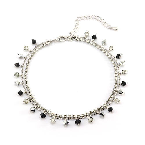 Rhodium Plated Brass Black and Grey Faceted Swarovski Crystal and Cubic Zirconia CZ Anklet