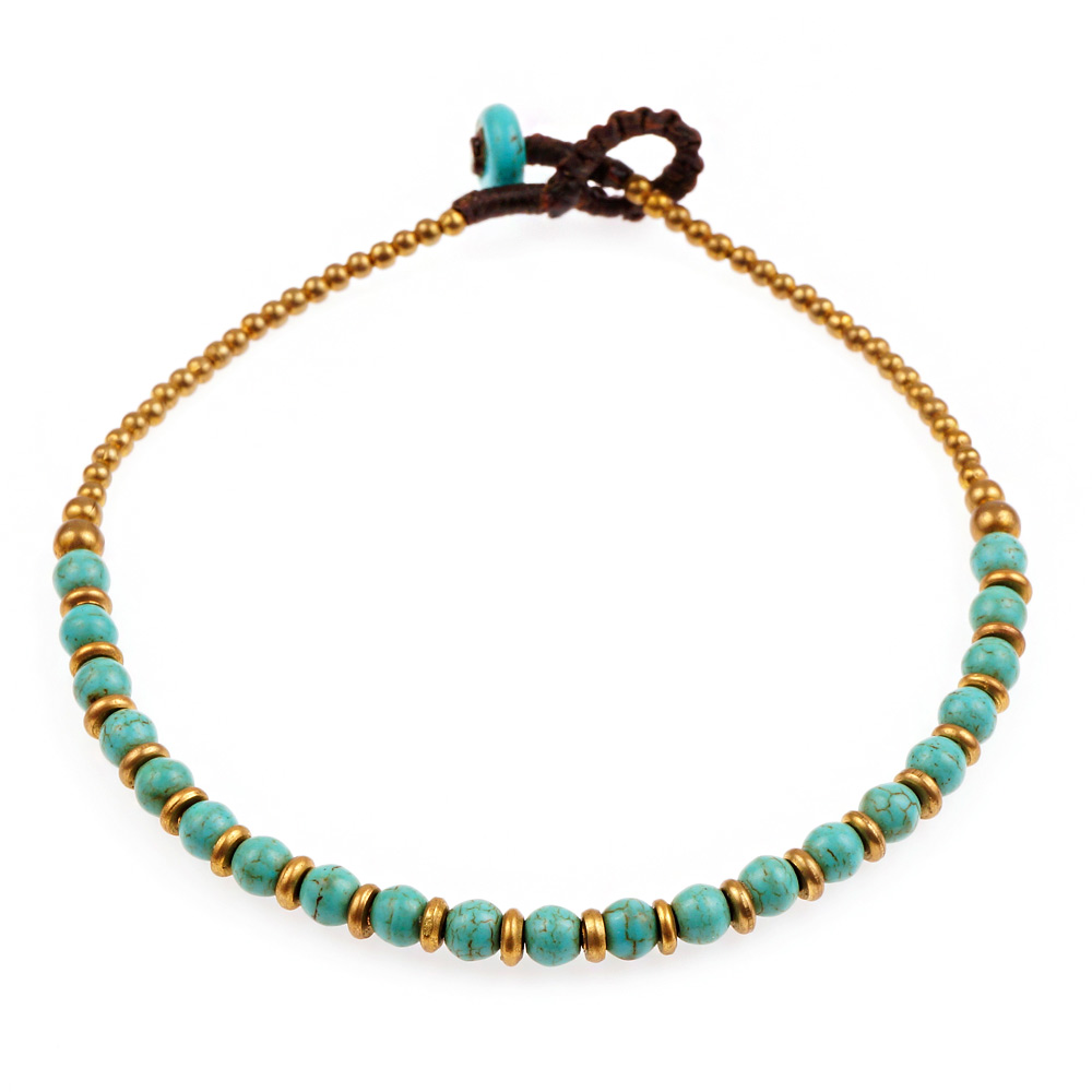 Wax Cord and Brass Beaded Genuine Blue Turquoise Semi-precious Gemstone Anklet