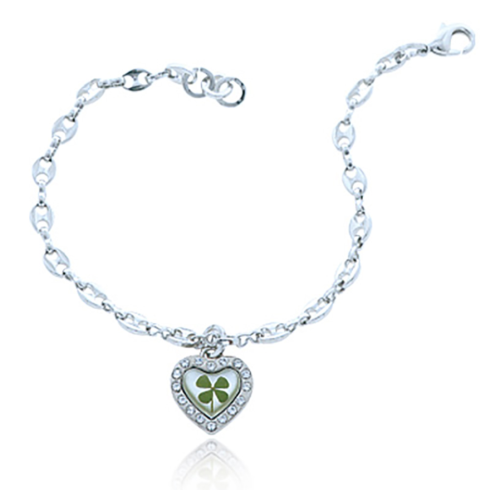 Stainless Steel Real Irish Four (4) Leaf Clover Shamrock Heart Charm Bracelet