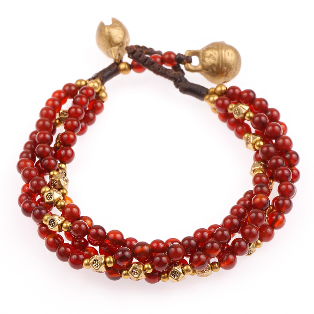 Brass and Genuine Red Carnelian Gemstone Multi Strand Beaded Bracelet