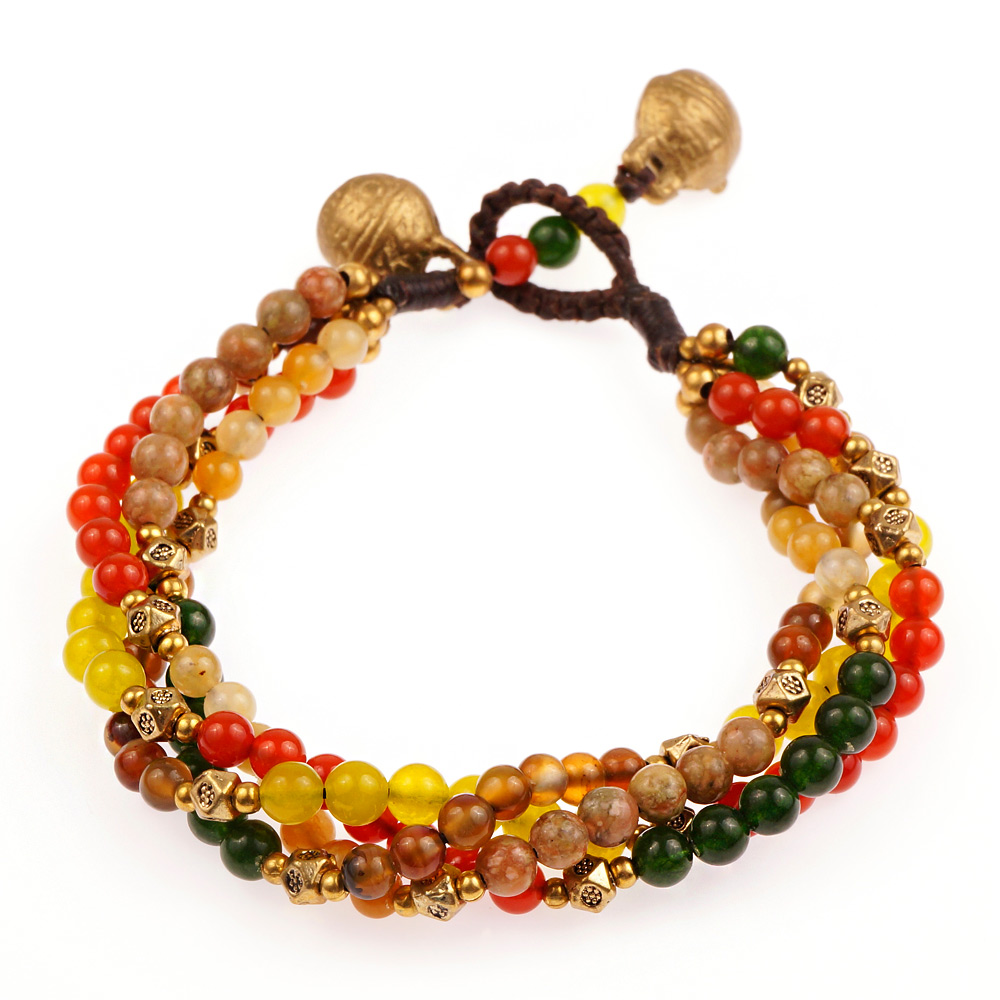 Brass and Genuine Multi-Colored Gemstones Multi Strand Beaded Bracelet