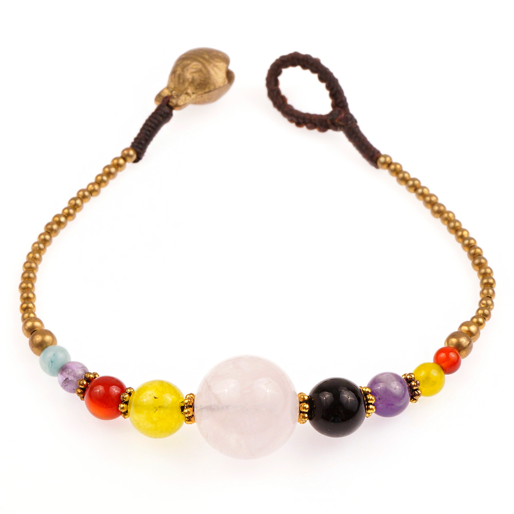 brass and genuine multi colored gemstone spheres beaded