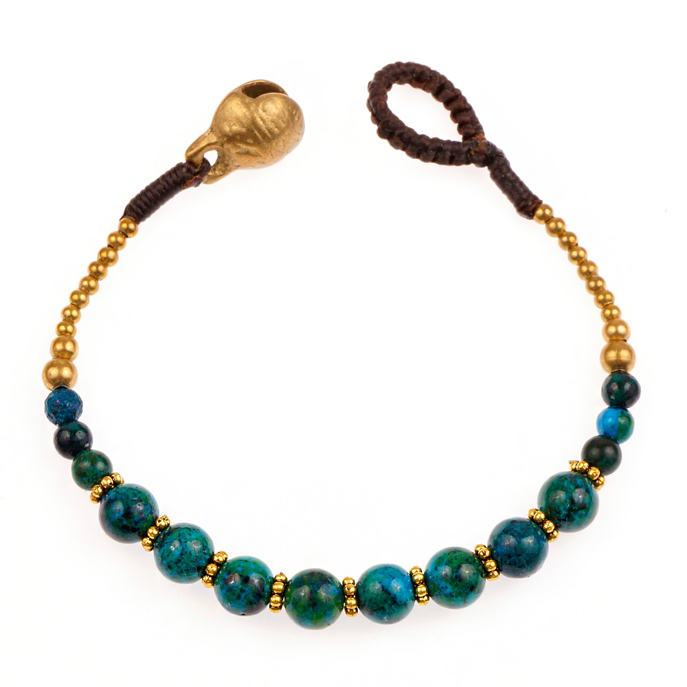 Brass and Genuine Green Chrysocolla Gemstone Spheres Beaded Bracelet