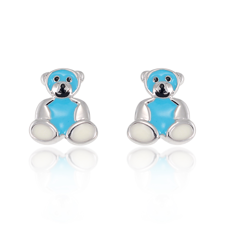 Children's 925 Sterling Silver White Blue Teddy Bear 10 mm Post Stud Earrings