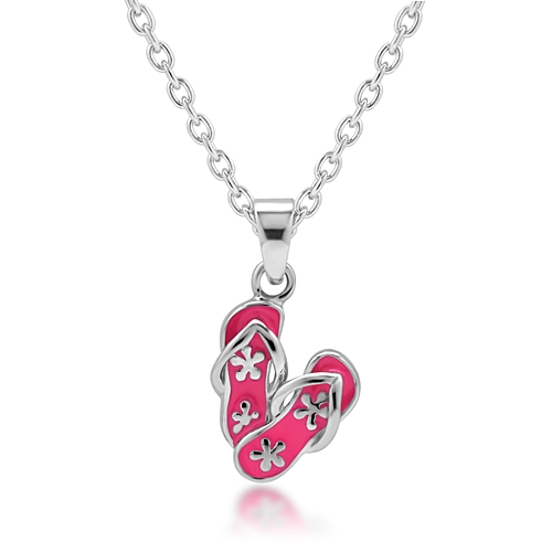 Children's 925 Sterling Silver Pink Flower Flip-Flop Sandal Pendant Necklace, 13-15 inches