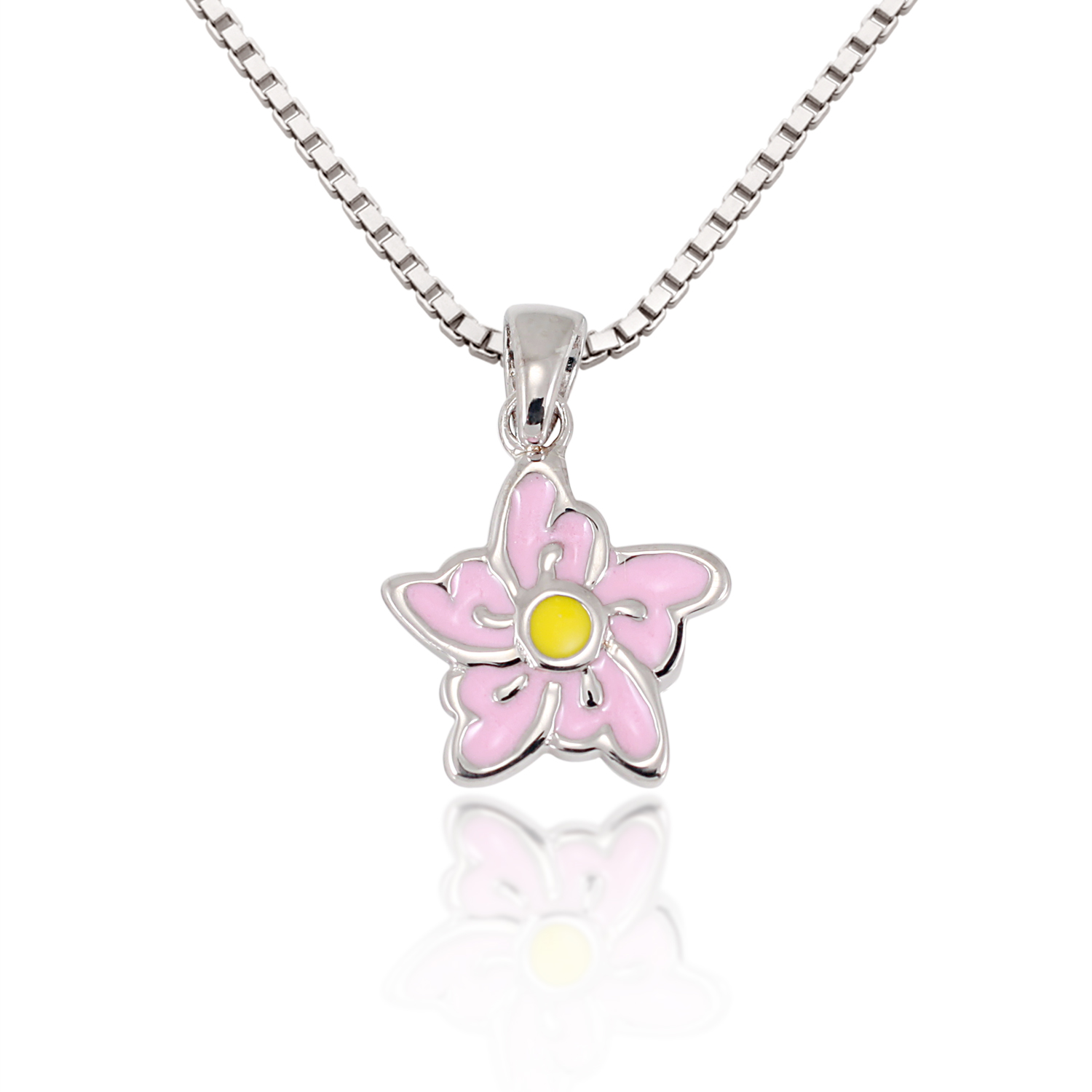 Children's 925 Sterling Silver Pastel Pink Yellow Orchid Flower Pendant Necklace, 13-15 inches
