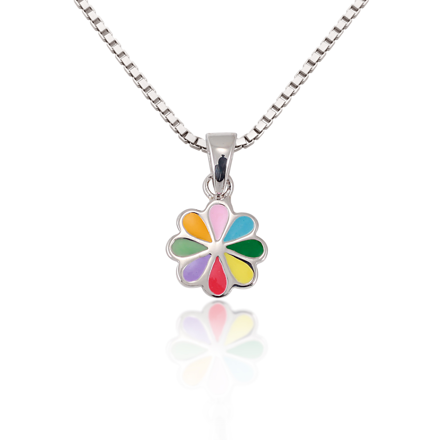 Children's 925 Sterling Silver Multi-Colored Sunflower Pendant Necklace, 13-15 inches