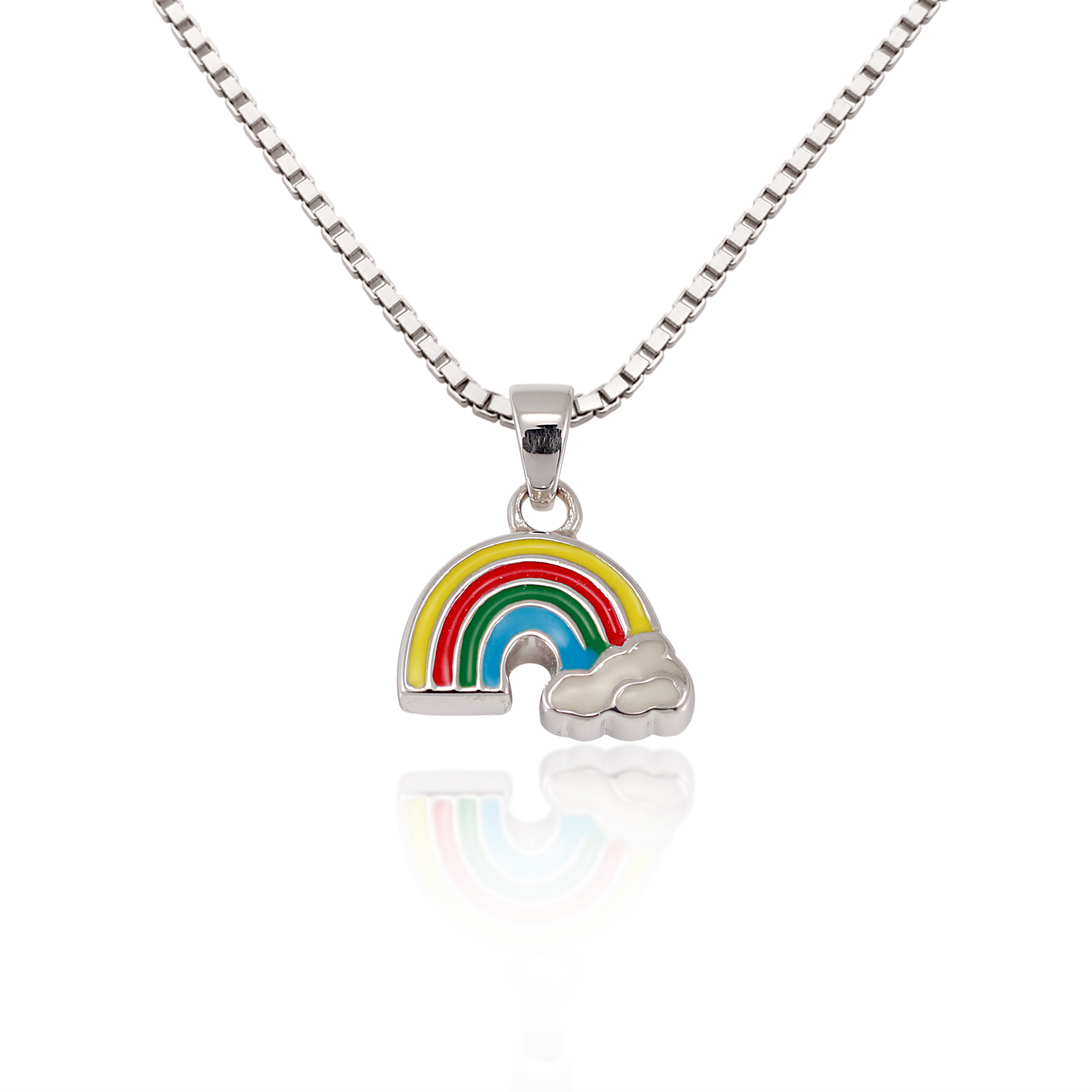 Children's 925 Sterling Silver Colorful Rainbow Cloud Pendant Necklace 13-15 inches
