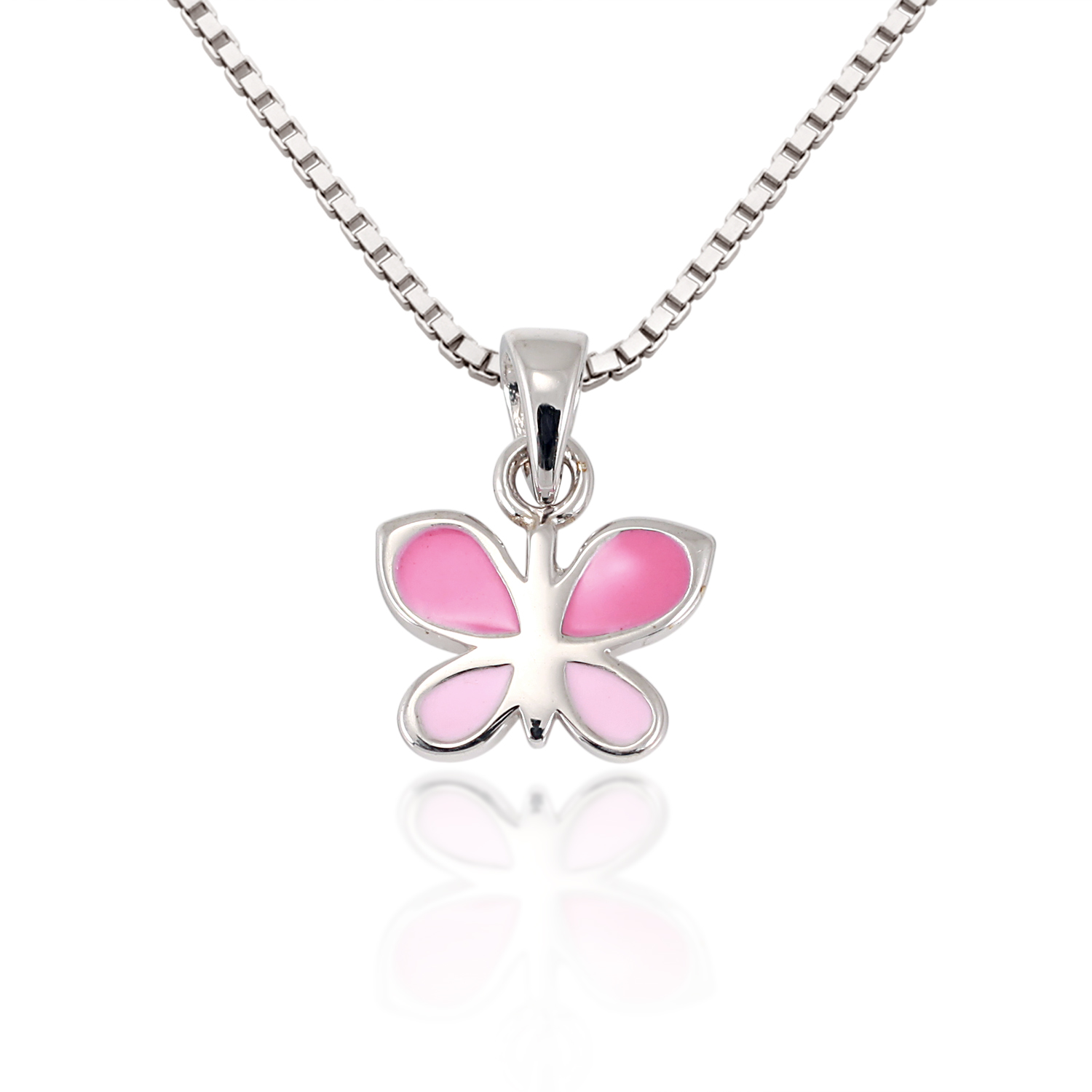 Children's 925 Sterling Silver Pink Butterfly Charm Pendant Necklace, 13-15 inches