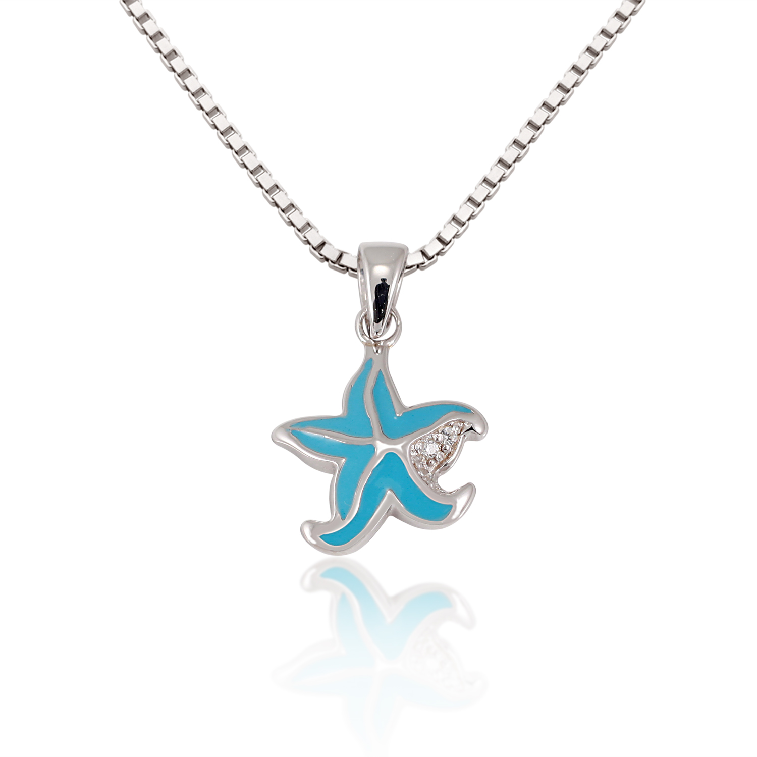 Children's 925 Sterling Silver Cubic Zirconia CZ Blue Starfish Pendant Necklace, 13-15 inches