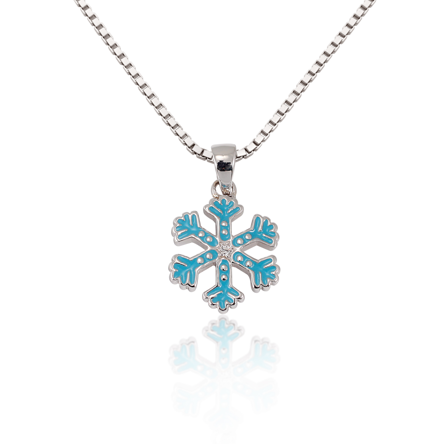 Children's 925 Sterling Silver Cubic Zirconia CZ Blue Snowflake Pendant Necklace, 13-15 inches