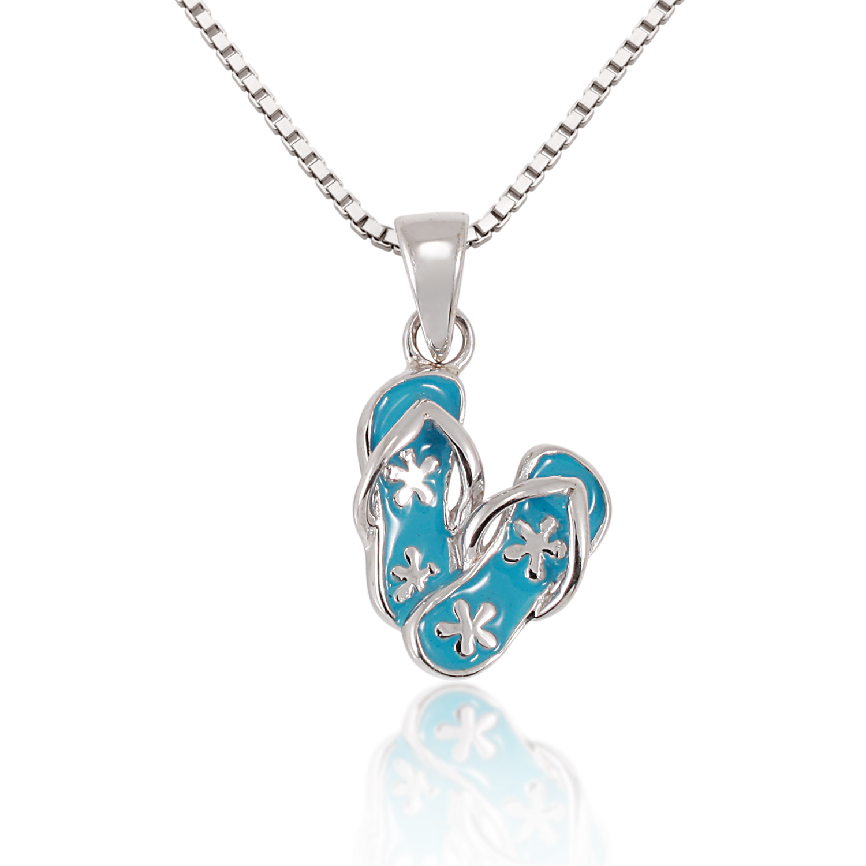 Children's 925 Sterling Silver Light Blue Flower Flip Flop Sandal Pendant Necklace, 13-15 inches