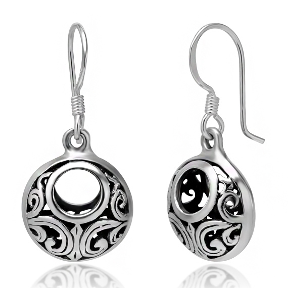925 Oxidized Sterling Silver Bali Inspired Open Filigree Circle Dangle Hook Earrings