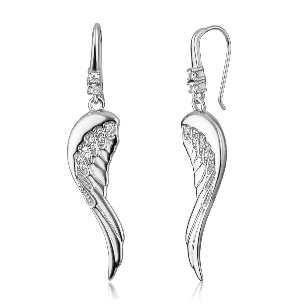 925 Sterling Silver Cubic Zirconia CZ Angel Wings Dangle Hook Earrings