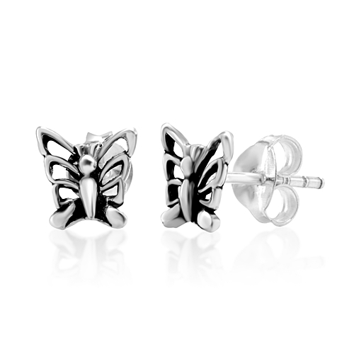 925 Oxidized Sterling Silver Little Butterfly 8 mm Post Stud Earrings