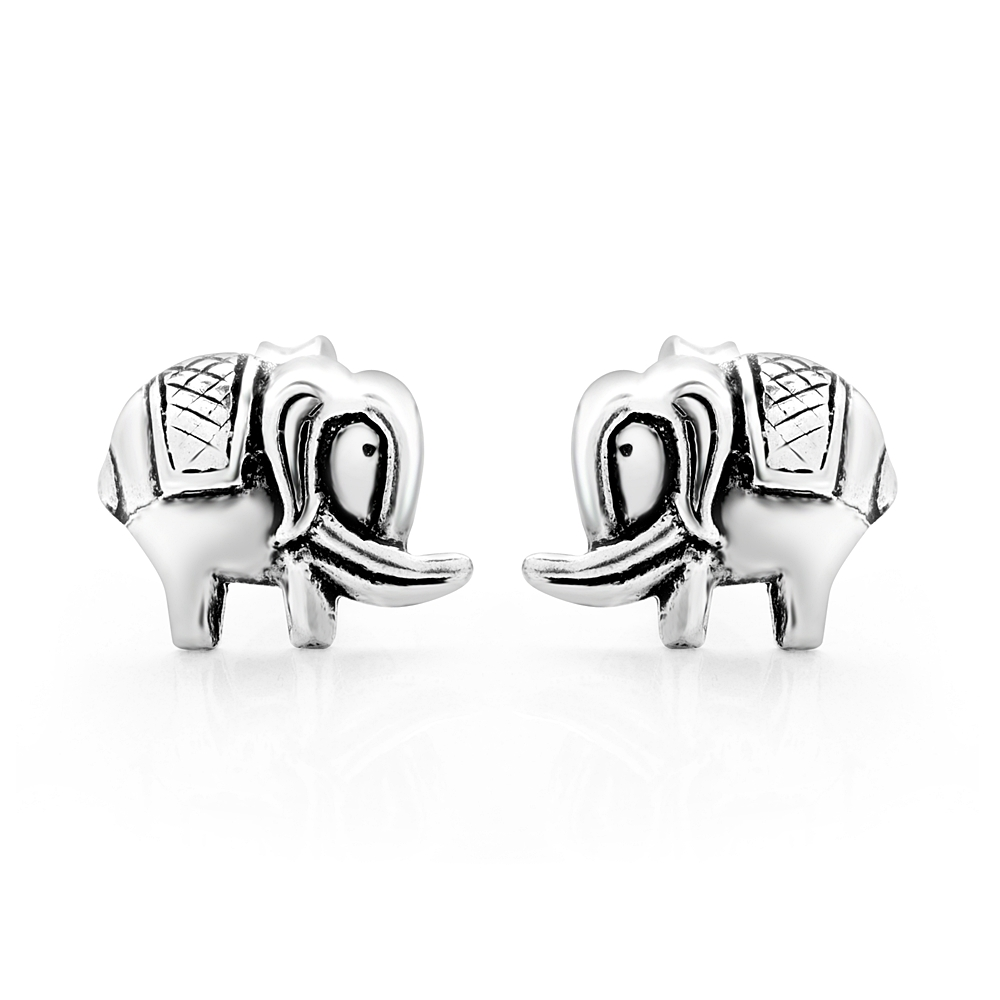 925 Sterling Silver Tiny Elephant Asian Design 11 mm Post Stud Earrings