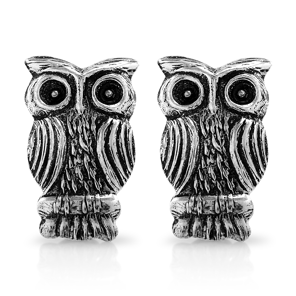 925 Sterling Silver Tiny Detailed Owl Bird 8 mm Post Stud Earrings
