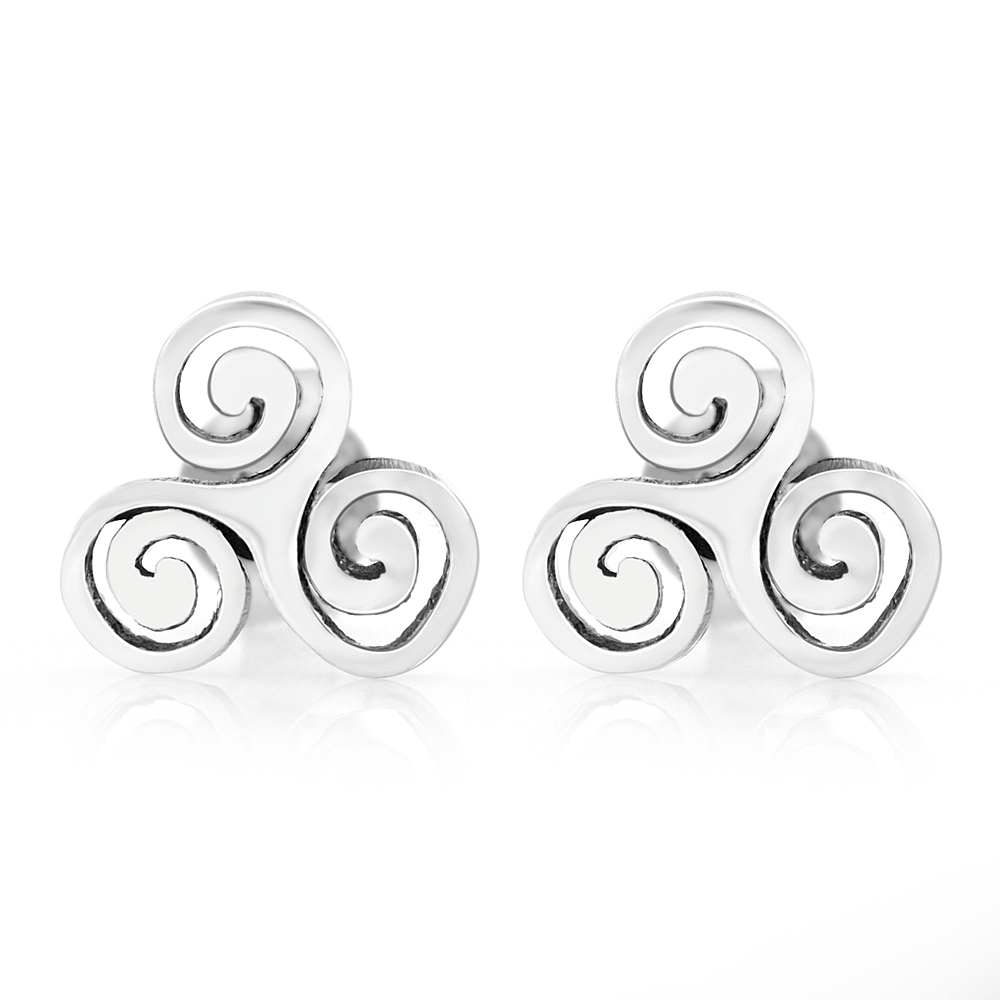 925 Sterling Silver Tiny Triple Spiral Triskele Triskelion Celtic Symbol 10 mm Post Stud Earrings