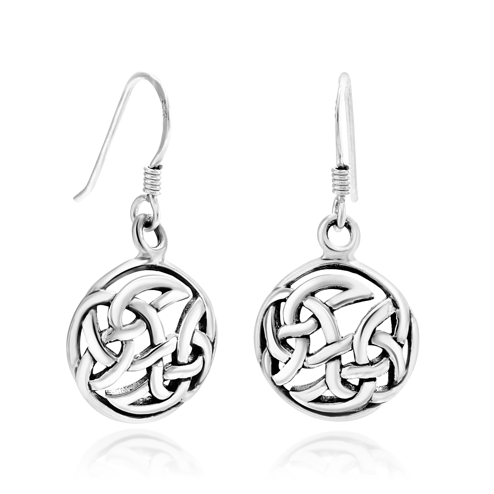 925 Sterling Silver Cut Open Celtic Infinity Knot Symbol Round Dangle Hook Earrings