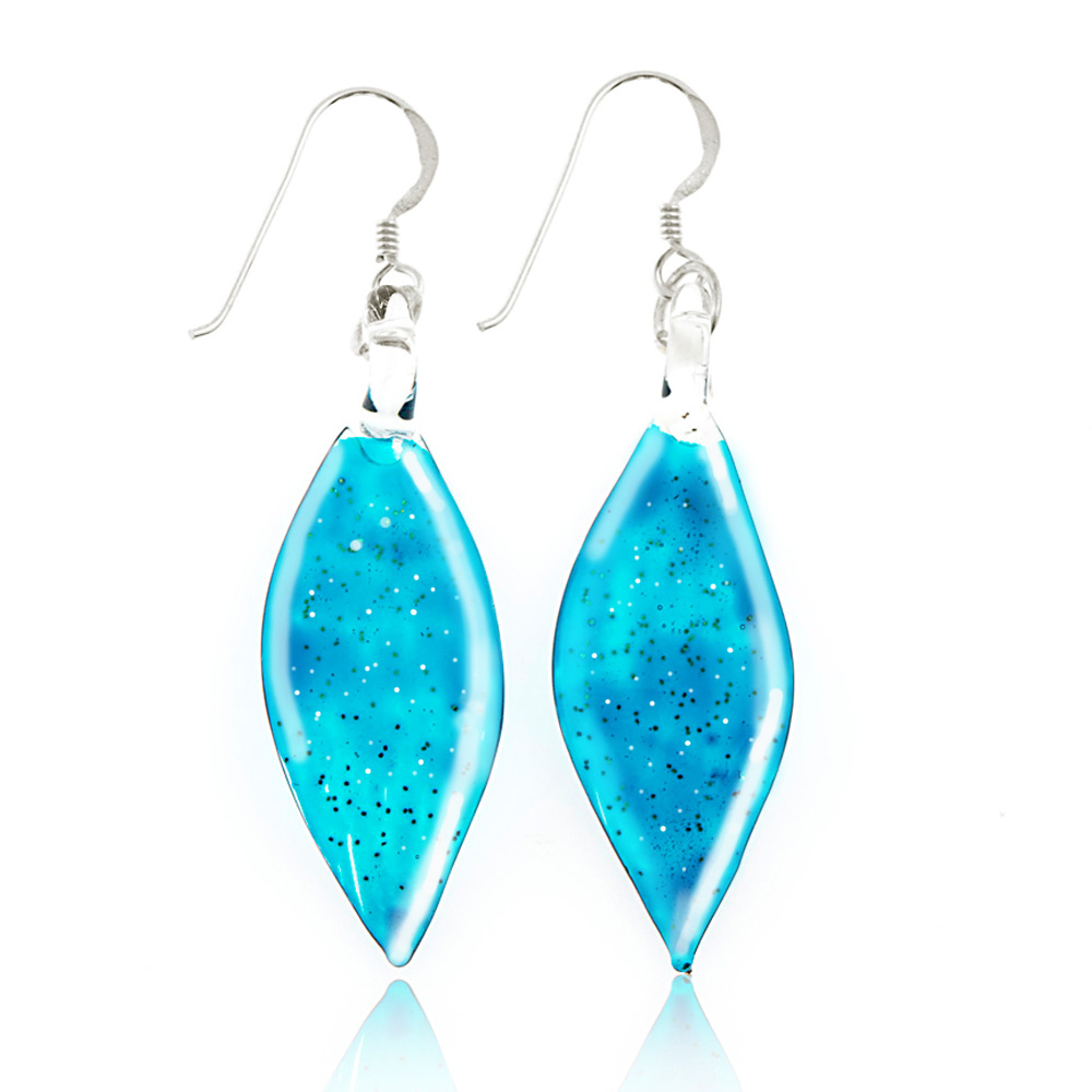 925 Sterling Silver Hand Blown Venetian Murano Glass Glitter Blue Leaf Dangle Long Hook Earrings 2""