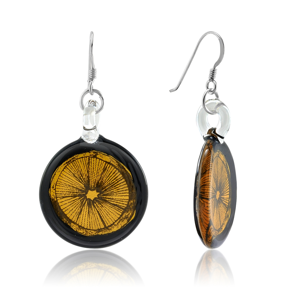 925 Sterling Silver Hand Painted Murano Glass Black Gold Lemon Lime Round Dangle Hook Earrings
