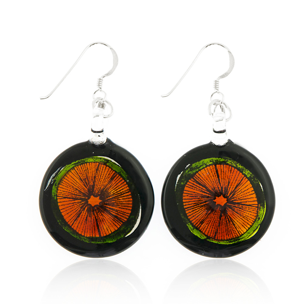 Sterling Silver Hand Painted Venetian Murano Glass Orange Fruit Round Dangle Hook Earrings 1.8""