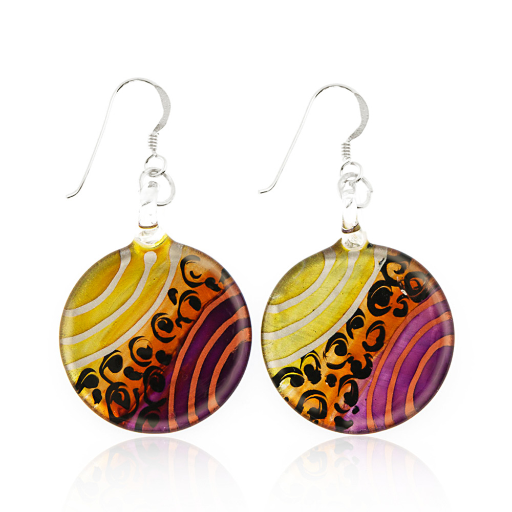 """Sterling Silver Hand Painted Murano Glass Gold Purple Orange Round Dangle Hook Earrings 1.8"""""""