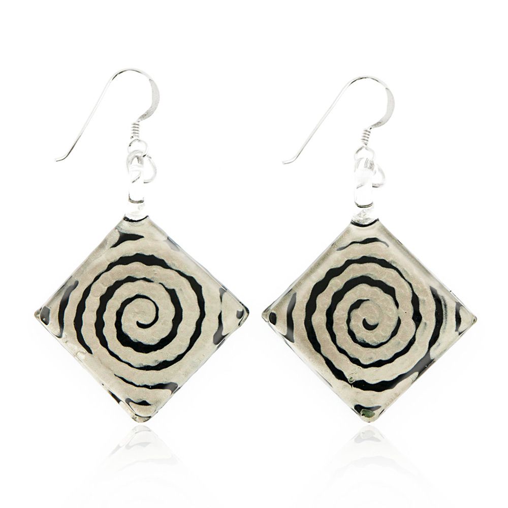 Sterling Silver Hand Painted Murano Glass Black White Circle Swirl Square Dangle Hook Earrings 2""
