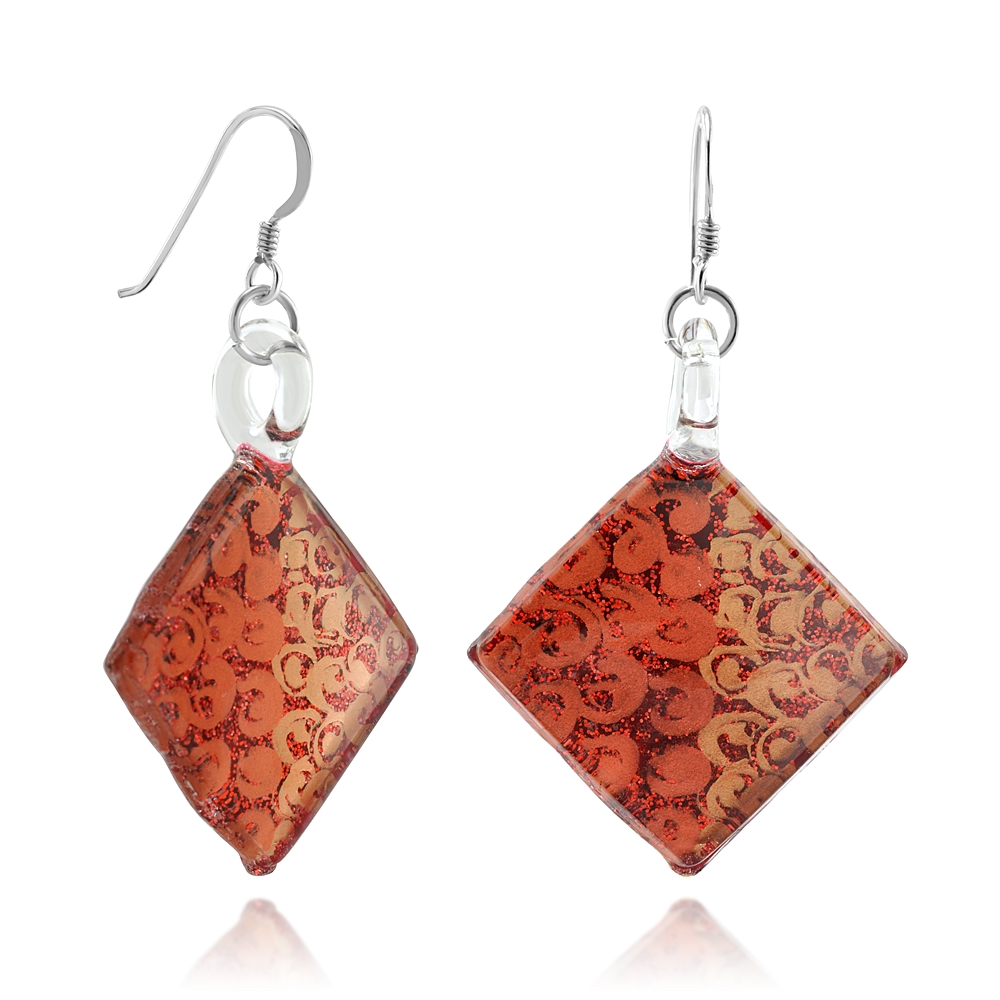 925 Sterling Silver Hand Painted Murano Glass Red Orange Swirls Square Dangle Hook Earrings