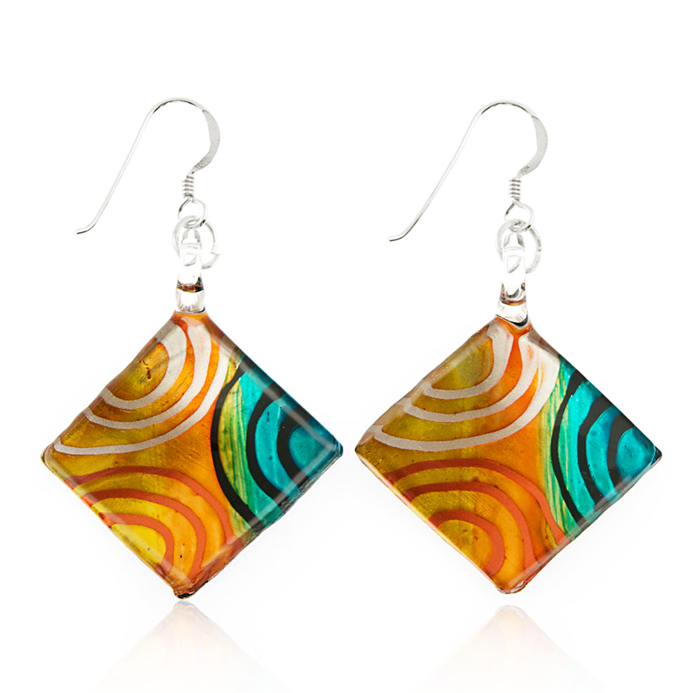 """Sterling Silver Hand Painted Murano Glass Multi-Colored Art Circles Square Dangle Earrings 2"""""""