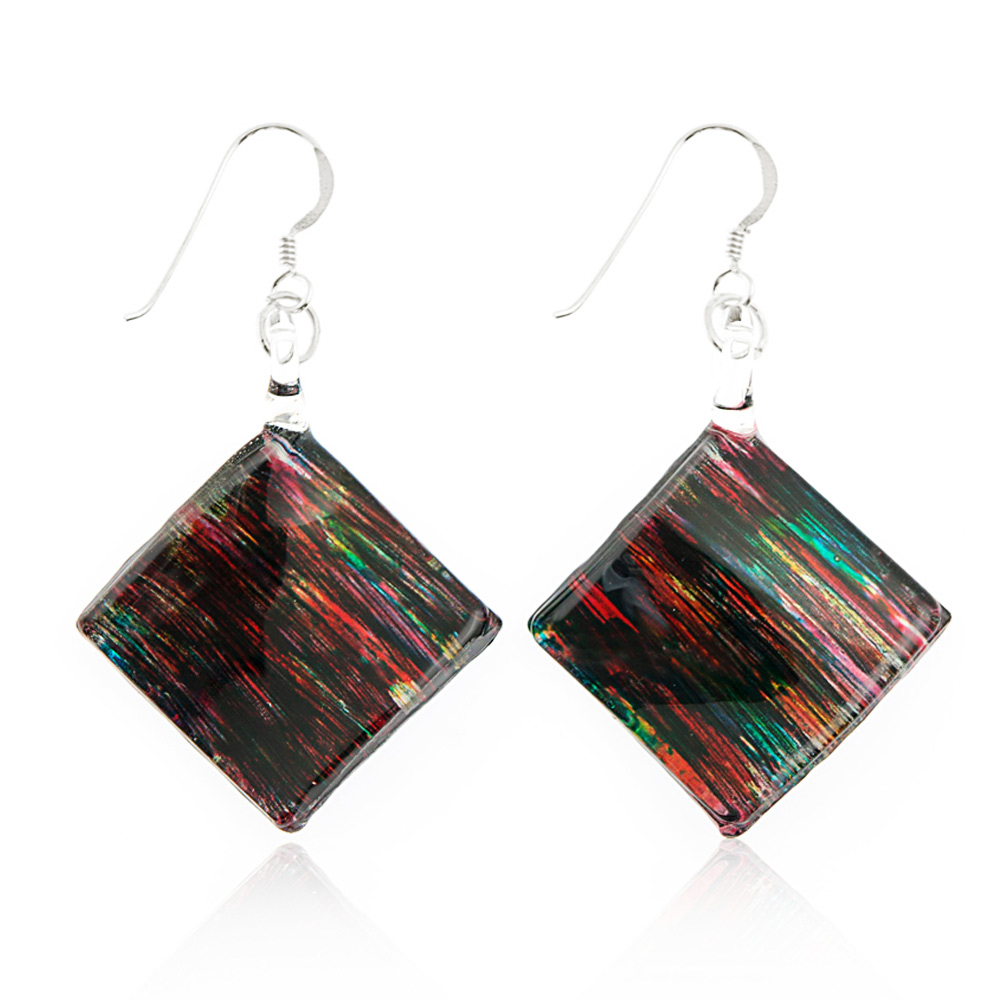 Sterling Silver Hand Painted Murano Glass Multi-Colored Abstract Art Square Dangle Earrings 2""