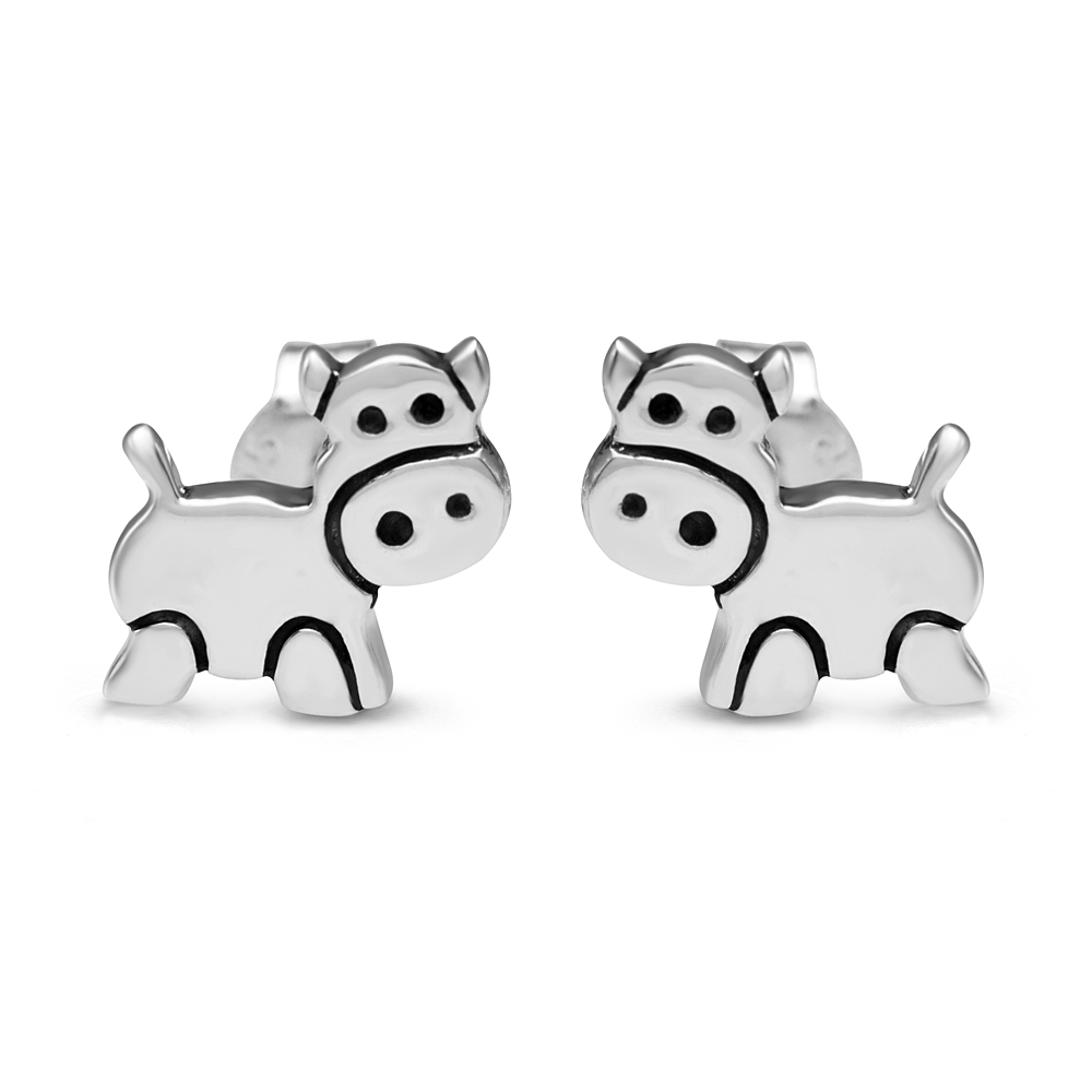 925 Sterling Silver 10 mm Little Cow Cartoon Animal Post Stud Earrings