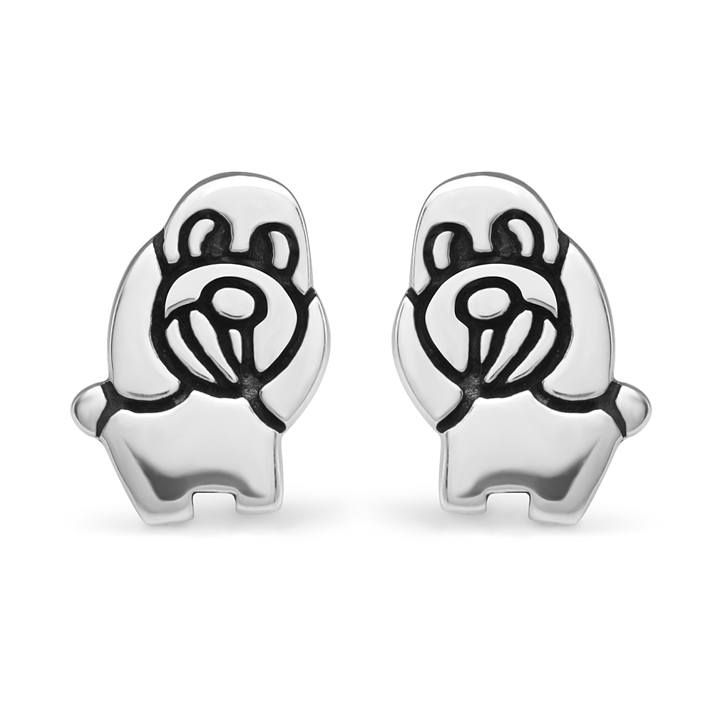 925 Sterling Silver 13 mm Cute Little Puppy Dog Cartoon Post Stud Earrings