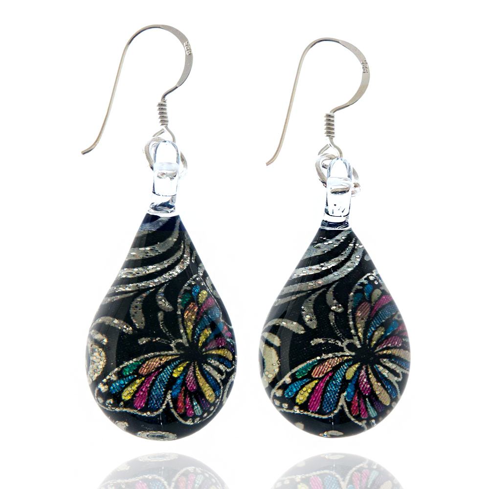 925 Sterling Silver Hand Blown Murano Glass Glitter Butterfly Silver Black Dangle Earrings