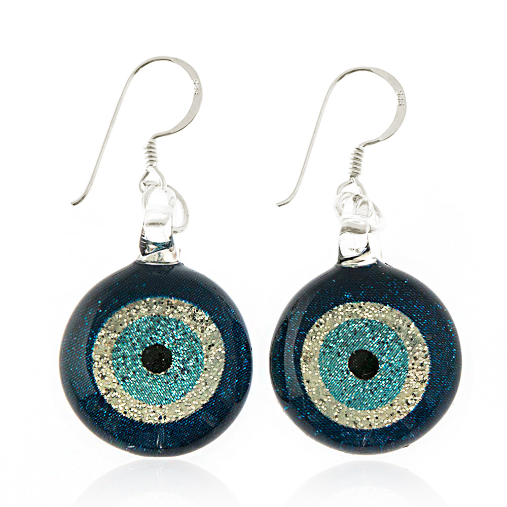 925 Sterling Silver Hand Painted Murano Glass Glitter Blue Evil Eye Round Dangle Hook Earrings
