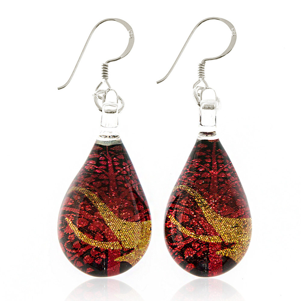 925 Sterling Silver Hand Painted Murano Glass Golden Elephant Red Bodhi Tree Dangle Earrings