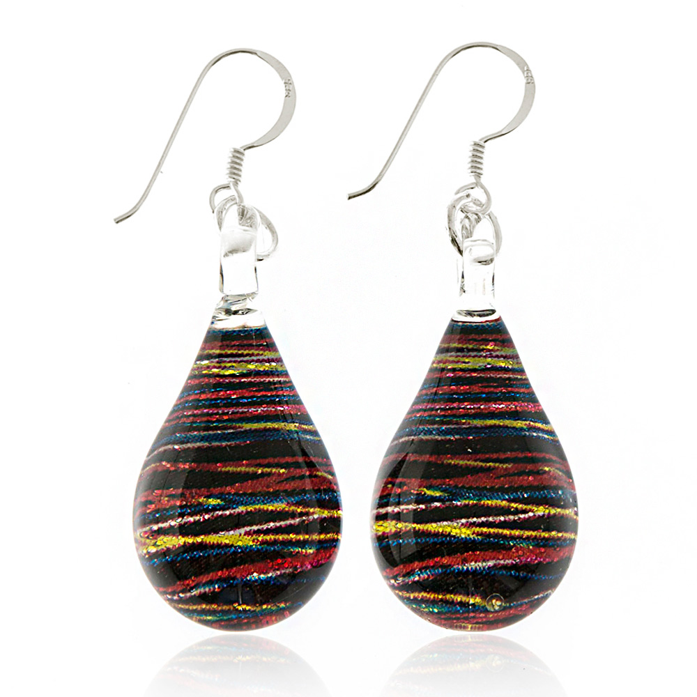 925 Sterling Silver Hand Painted Murano Glass Multi-colored Abstract Speed Light Dangle Earrings
