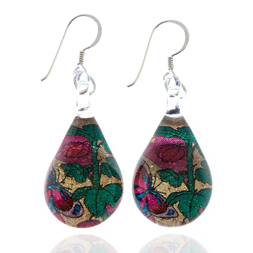 925 Sterling Silver Hand Blown Venetian Murano Glass Glitter Butterfly Rose Flower Dangle Earrings