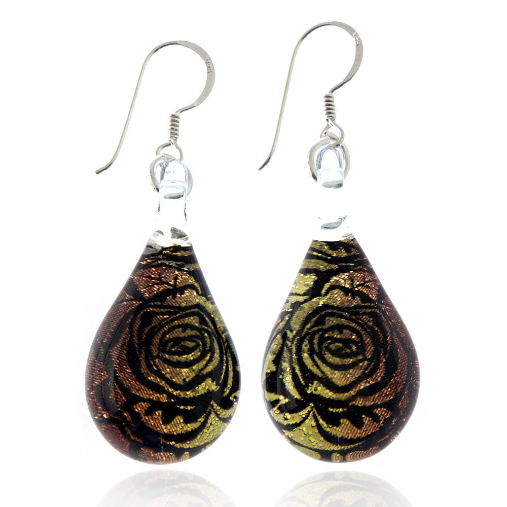 925 Sterling Silver Hand Blown Venetian Murano Glass Glitter Black Golden Rose Dangle Earrings