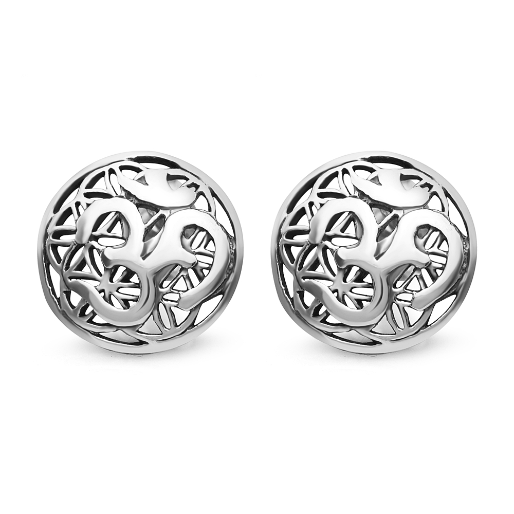 925 Sterling Silver 12 mm Yoga Aum Om Ohm on Flower of Life Round Post Stud Earrings